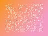 テキストと夏のライン アート アイコン夏のバナー デザイン