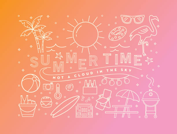 Summer banner design with text and summer line art icons Vector illustration of a summer banner design template. Includes summer party elements, text that reads Summer time not a cloud in the sky. Lot's of outlined icons. Bright colors. Fully editable. water bird stock illustrations