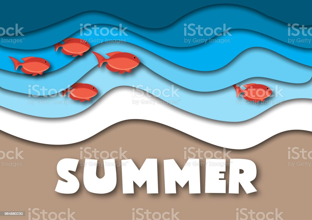 Summer banner template in A4 format, with sea or ocean waves,tropical sand beach, red fish and text royalty-free summer banner template in a4 format with sea or ocean wavestropical sand beach red fish and text stock vector art & more images of abstract