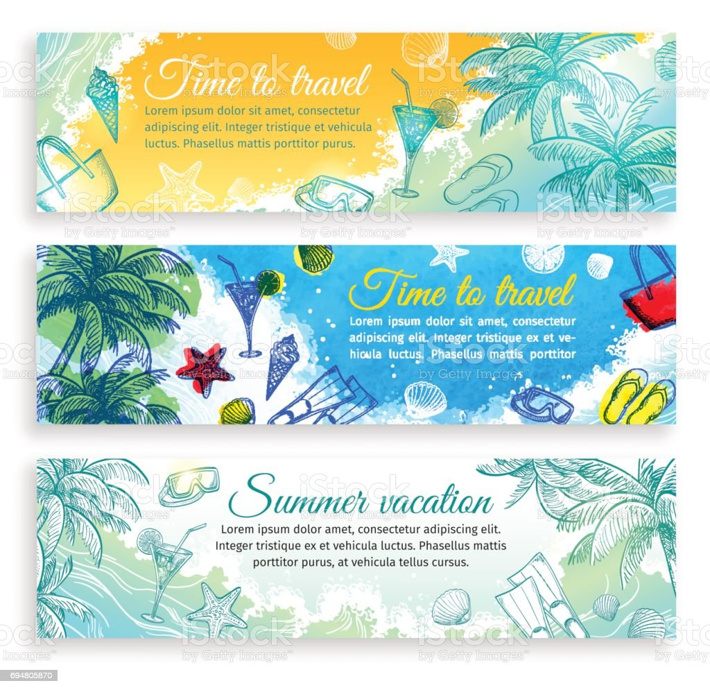 Summer banner templates vector art illustration