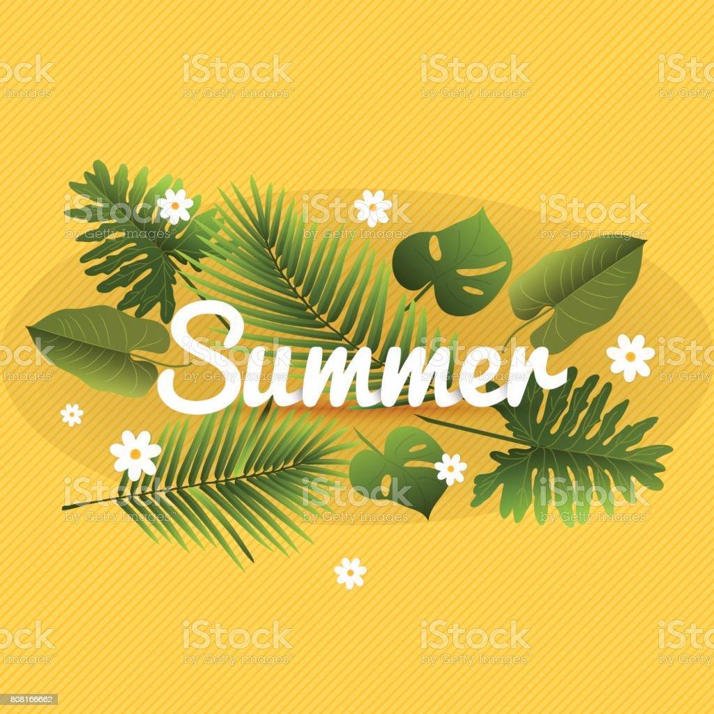 夏のバナーですトレンディなテクスチャです壁紙熱帯植物楽しい
