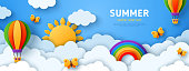 istock Summer banner with air balloons 1225639808