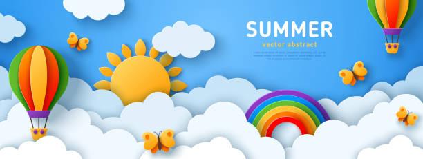 ilustraciones, imágenes clip art, dibujos animados e iconos de stock de estandarte de verano con globos de aire - summer background