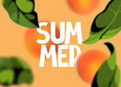 Summer banner with defocused orange tree leaves and oranges. Vector illustration