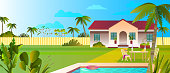 Beautiful cottage backyard in flat style. Tropical landscape for rental advertisements, booking web sites.
