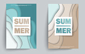 Summer banner with paper cut frame on blue sea and beach summer background. Paper cut style. Banner, flyer, poster or web site design. Vector illustration EPS10