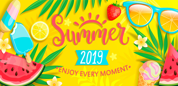 Summer banner with symbols for summertime.