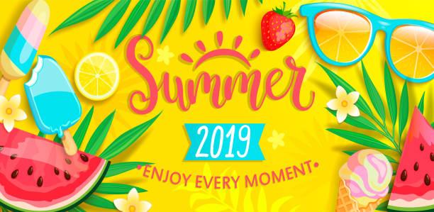 ilustraciones, imágenes clip art, dibujos animados e iconos de stock de bandera con símbolos de verano en verano. - verano