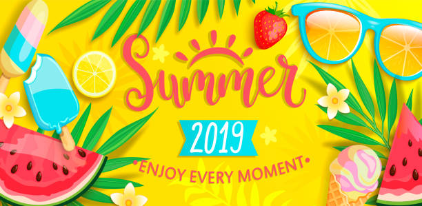 Summer banner with symbols for summertime. Summer banner with symbols for summertime such as ice cream,watermelon,strawberries,glasses.Hand drawn lettering for template card, wallpaper,flyer,invitation, poster,brochure.Vector illustration summer stock illustrations