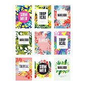 Summer banners set, Malibu, Hawaii tropical vacation and holidays poster vector Illustrations