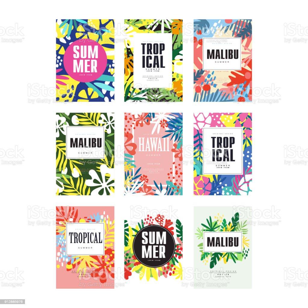 Sommer Banner gesetzt, Malibu, Hawaii tropische Ferien und Feiertagen Plakat Vektor Illustrationen – Vektorgrafik