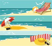 Hot summer banners with blue sea and warm sand.