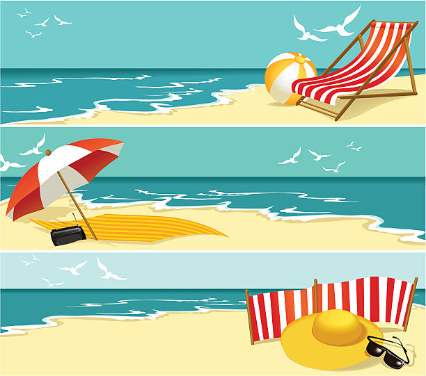 sommer-banner - sonnenstuhl stock-grafiken, -clipart, -cartoons und -symbole