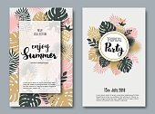 Summer vertical banners with paper tropical leaf. Vector illustration