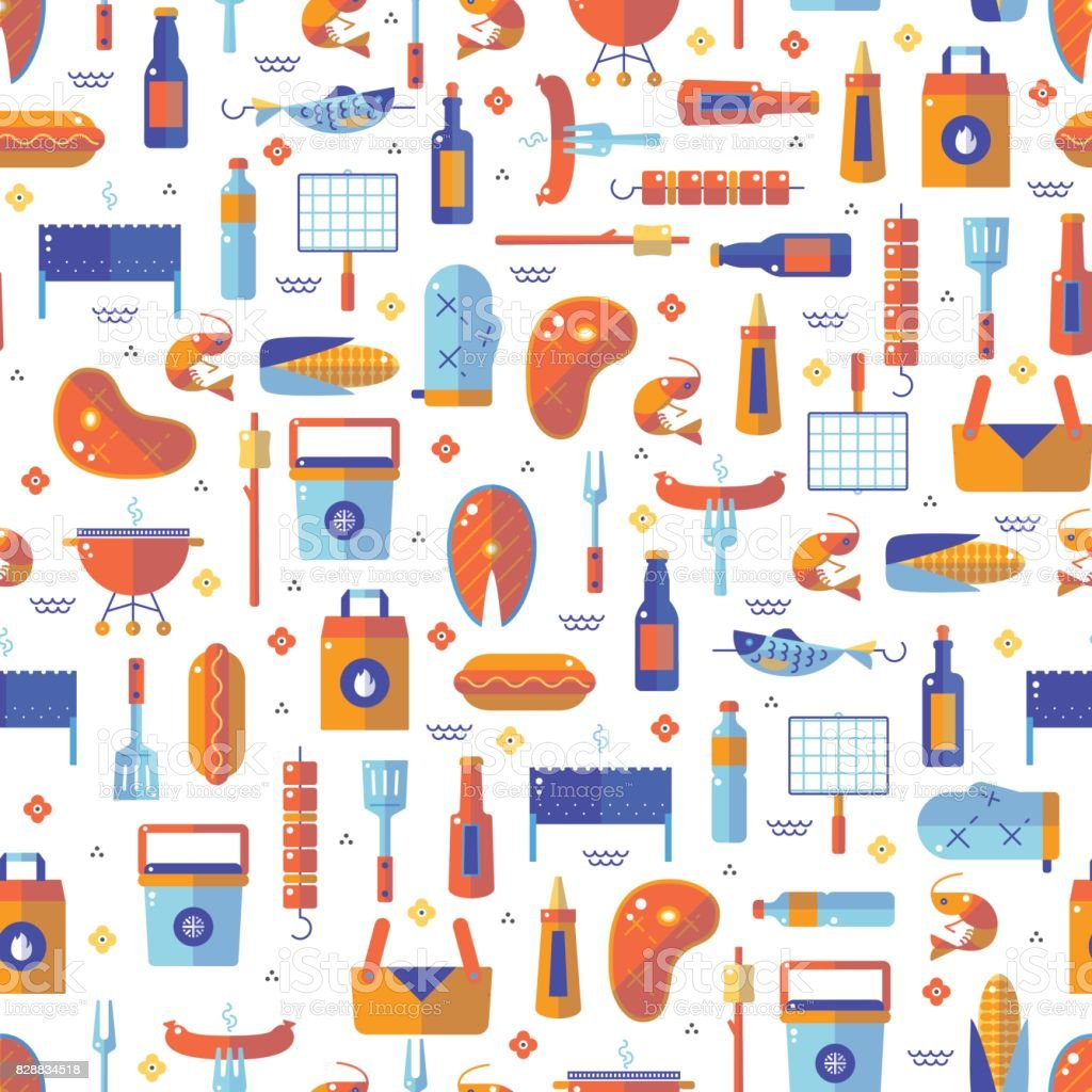 Summer barbecue and grill lined seamless pattern vector art illustration