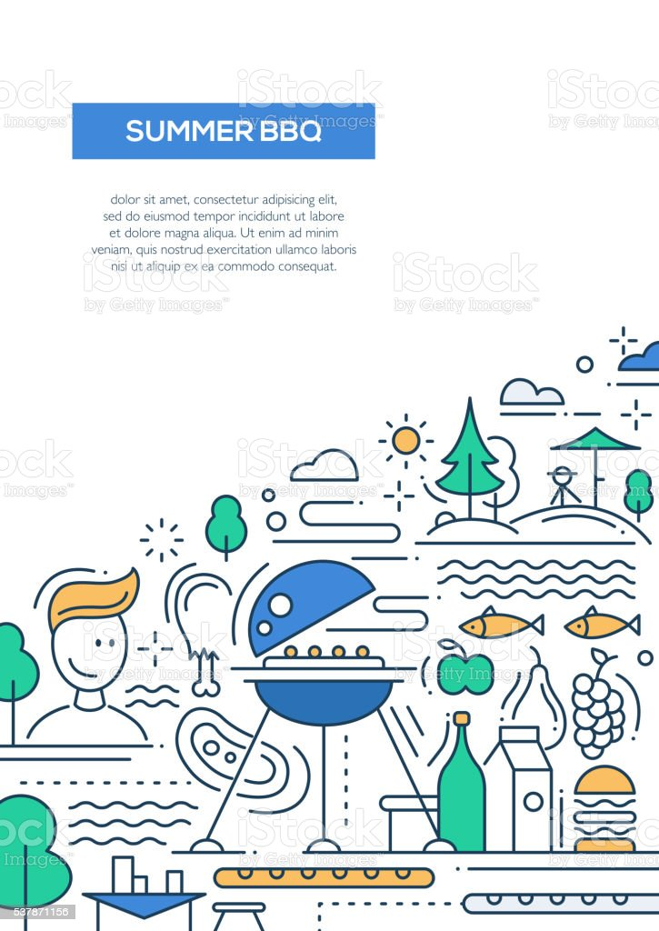 Summer barbecue and picnic line design poster vector art illustration