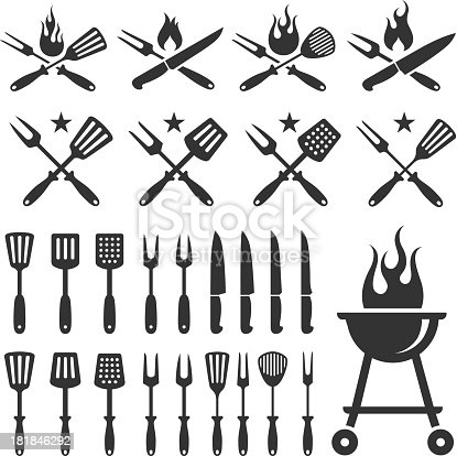 Summer Barbecue black and white set