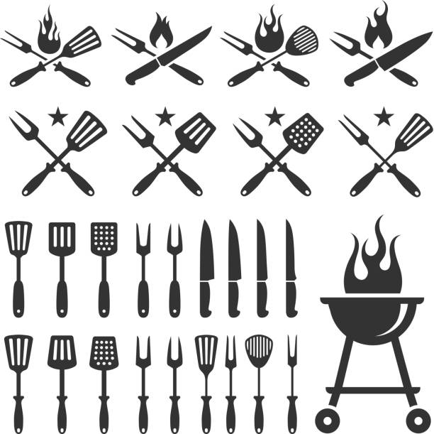 Summer Barbecue grill knife and spatula vector icon set Summer Barbecue black and white set  cooking black and white stock illustrations