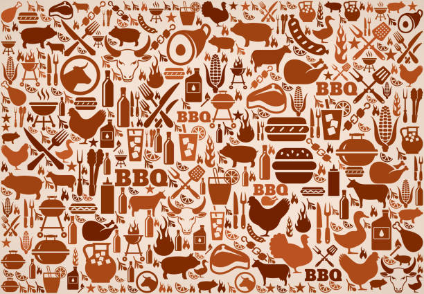 summer barbecue invitation vector background pattern - pattern stock illustrations, clip art, cartoons, & icons