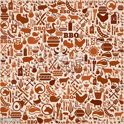 summer barbecue invitation vector background. This royalty free vector illustration features a seamless pattern of barbecue icons. The icons range in size and include bbq favorites grill, steak, burger, eating and cooking utensils and refreshing summer drinks. The pattern in brown tones on beige background.