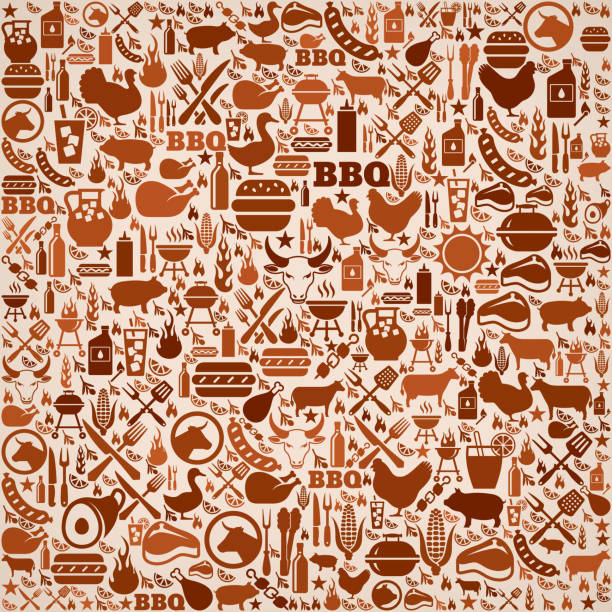 summer barbecue invitation vector background pattern summer barbecue invitation vector background. This royalty free vector illustration features a seamless pattern of barbecue icons. The icons range in size and include bbq favorites grill, steak, burger, eating and cooking utensils and refreshing summer drinks. The pattern in brown tones on beige background. pattern stock illustrations