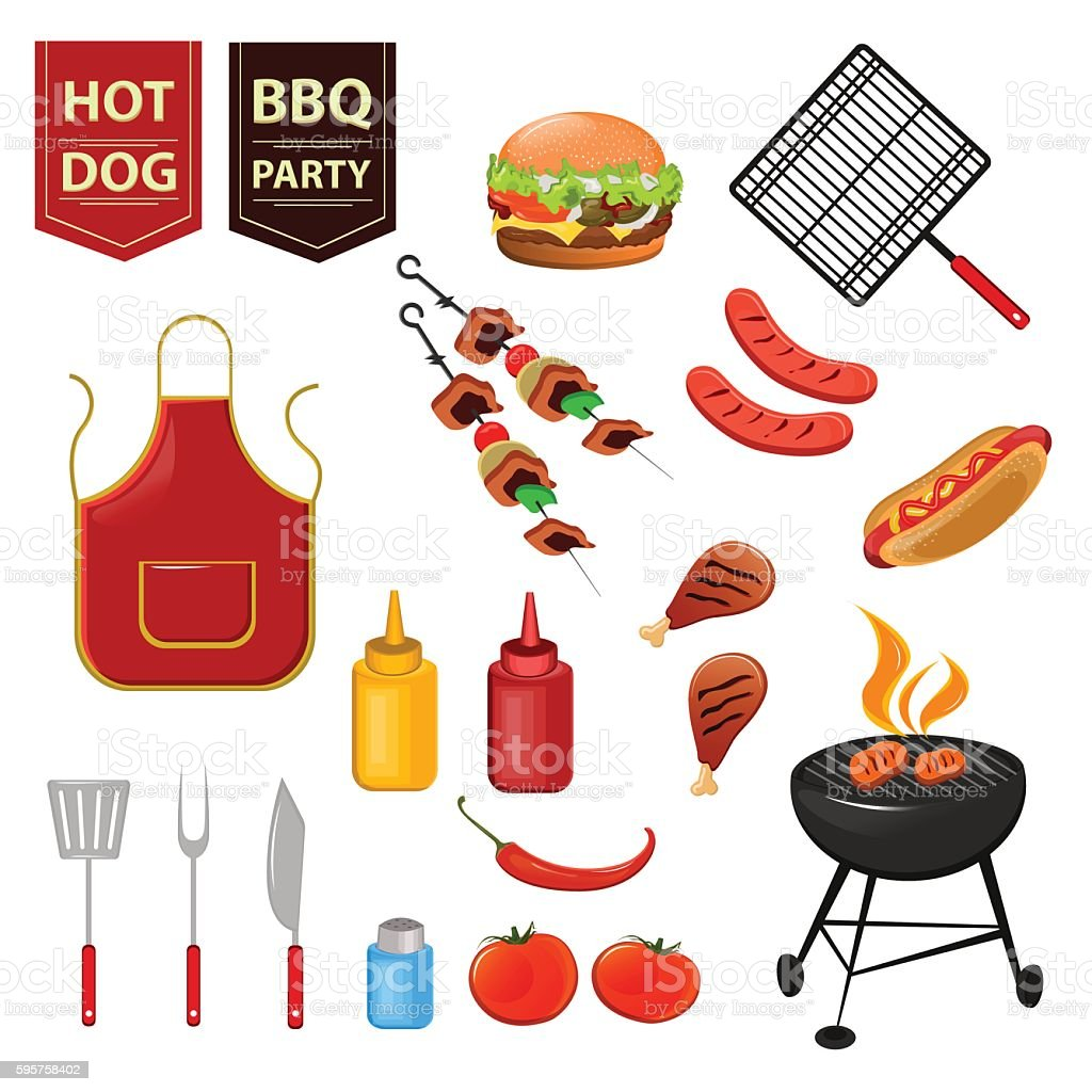 summer barbecue party set of flat icons stock vector art more images of apron 595758402 istock. Black Bedroom Furniture Sets. Home Design Ideas