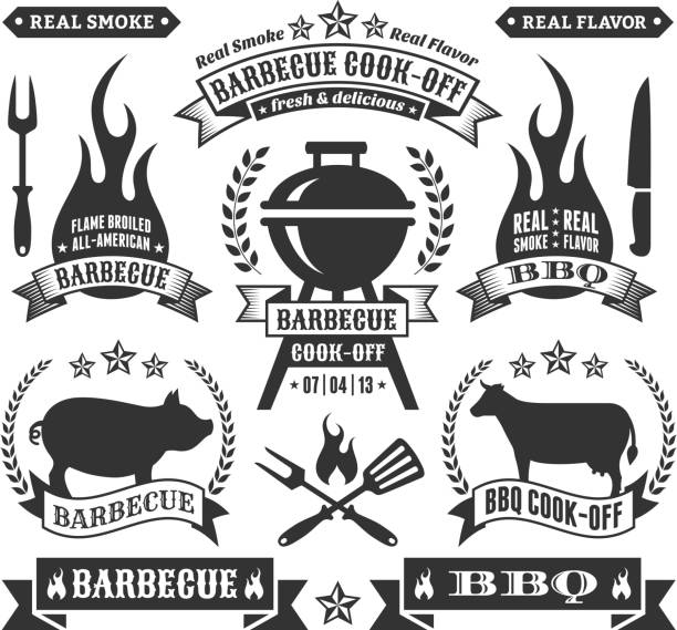 Summer Barbecue Royalty free vector graphics Summer Barbecue Black & White collection cooking competition stock illustrations