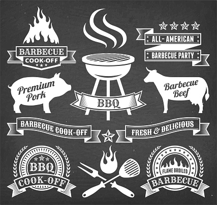 Summer Barbecue royalty free vector icon set on chalk board