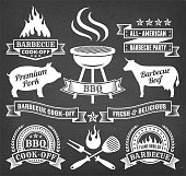 Summer Barbecue royalty free vector icon set on chalk board. This image features a set of roaylty free vector icons in white on a chalkboard. The icons can be used separately or as part of a set. The chalk board has a slight texture.