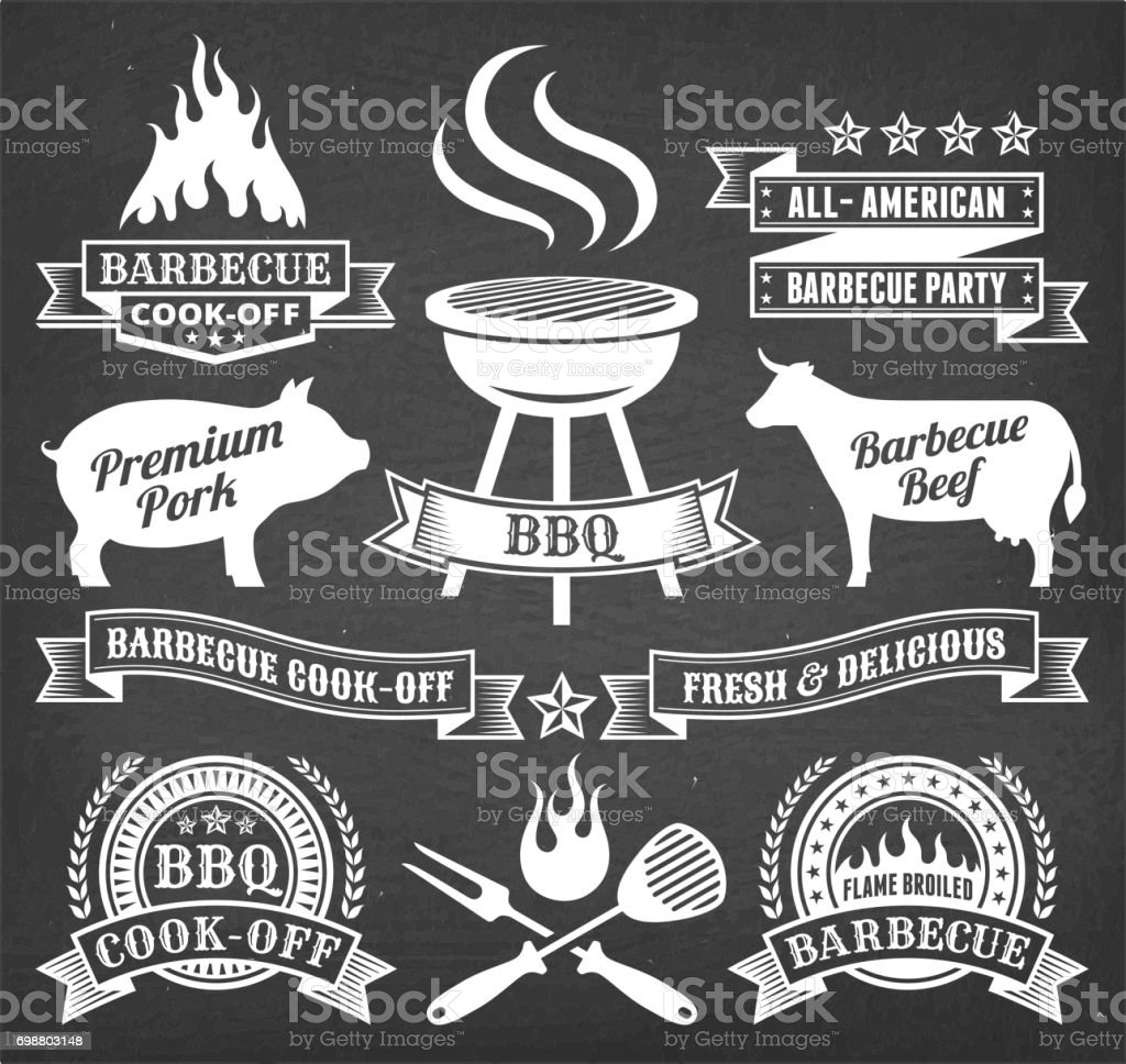 Summer Barbecue royalty free vector icon set on chalk board vector art illustration