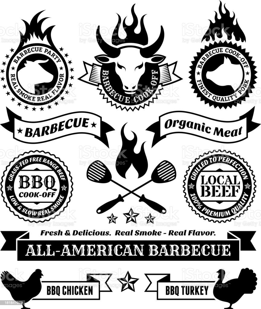 Summer Barbecue royalty free vector icon set royalty-free summer barbecue royalty free vector icon set stock vector art & more images of advertisement