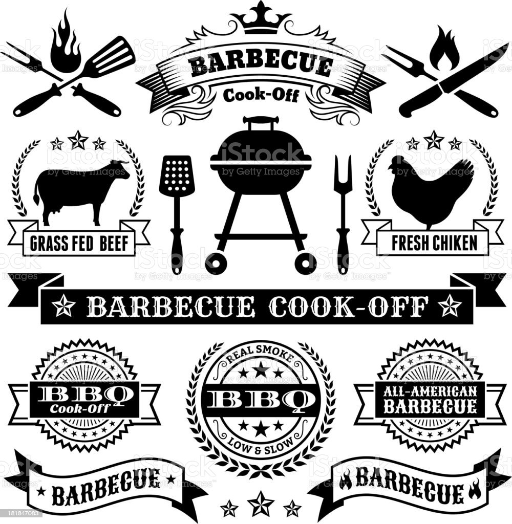 Summer Barbecue Royalty Free Vector Icon Set Stock Vector