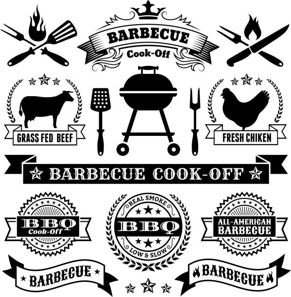 Summer Barbecue royalty free vector icon set Summer Barbecue Black and White collection cooking competition stock illustrations