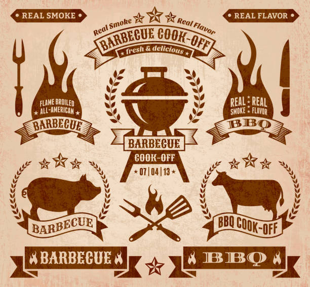 Summer Barbecue royalty free vector icon set Summer Barbecue Gunge collection cooking competition stock illustrations