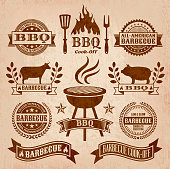 Summer Barbecue Grunge graphic. The illustration features 100% editable royalty free vector background with grunge texture. Barbecue, fire, flame, cooking, meat, beef, fork and knife, and copy space banners are featured in the badge designs. Image download includes vector graphic and jpg file.