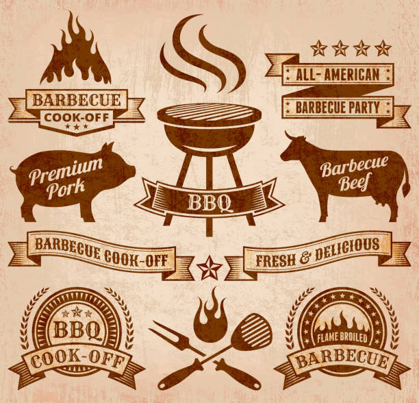Summer Barbecue royalty free vector icon set Summer Barbecue Grunge graphic. The illustration features 100% editable royalty free vector background with grunge texture. Barbecue, fire, flame, cooking, meat, beef, fork and knife, and copy space banners are featured in the badge designs. Image download includes vector graphic and jpg file. cooking competition stock illustrations