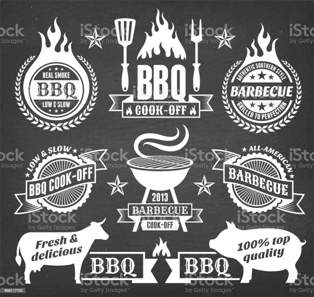 summer barbecue vector icon set collection vector art illustration
