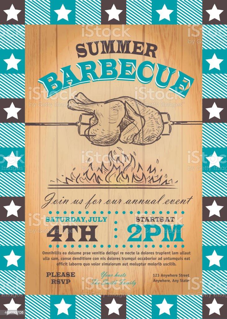 Summer bbq chicken rotisserie invitation design template vector art illustration
