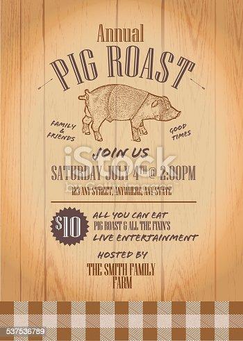 Summer Bbq Country Pig Roast Invitation Design Template Stock Vector