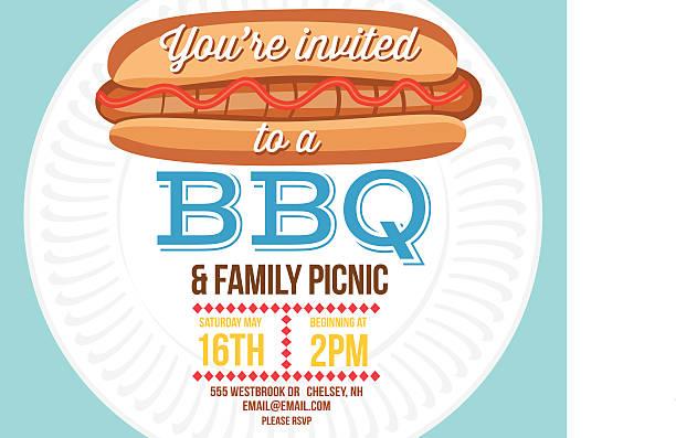 sommer-bbq-einladung vorlage mit hotdog und pappteller  - plastikteller stock-grafiken, -clipart, -cartoons und -symbole