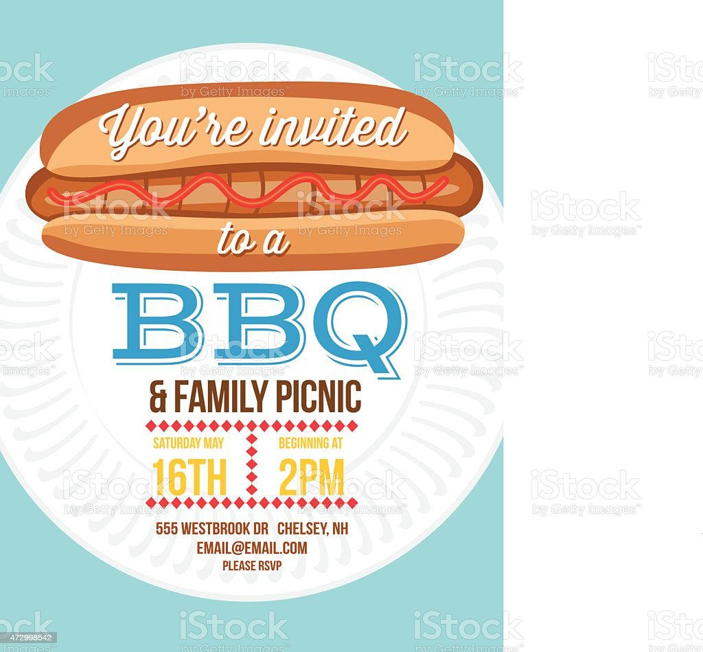 summer bbq invite template with hotdog and paper plate stock vector