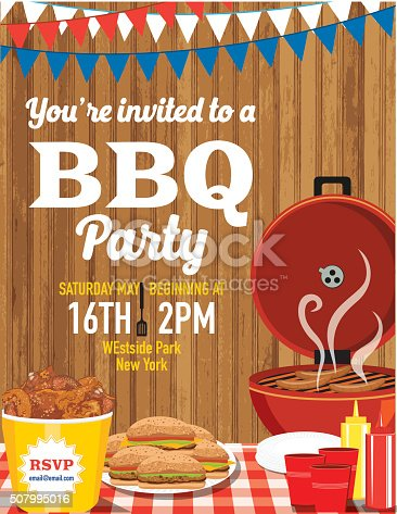 Summer picnic and BBQ invitation flyer or template. Text is on its own layer for easy editing. There are bunting flags across the top with a bucket of fried chicken, hamburgers and drinks. Wood background.