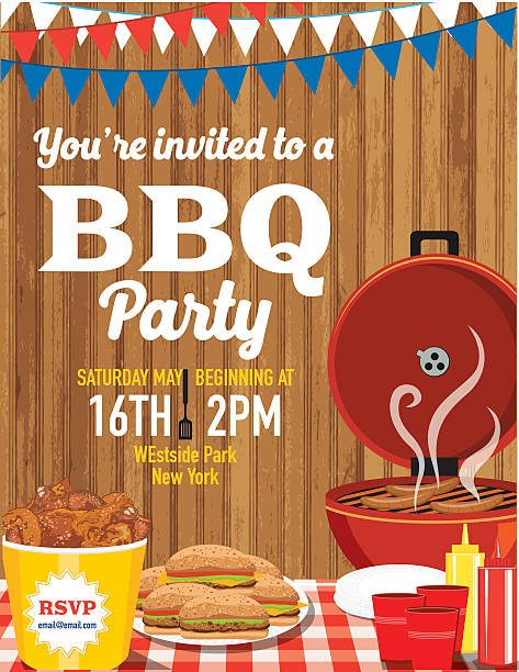 Summer BBQ Party Invitation Template vector art illustration