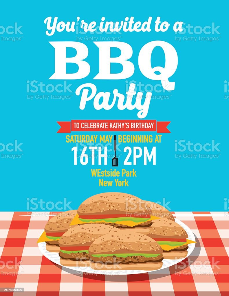 Summer Bbq Party Invitation Template stock vector art 507995046 ...