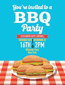 Summer picnic and BBQ invitation flyer or template. Text is on its own layer for easy editing. There is a plate piled with hamburgers on a red paid tablecloth. Wood background.