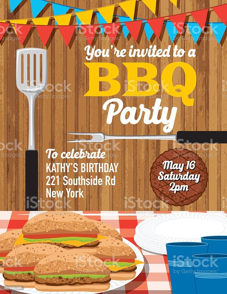 summer bbq party invitation template stock vector art