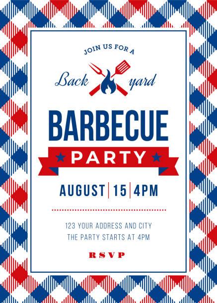 sommer-barbecue-party-einladung vorlage - plastikteller stock-grafiken, -clipart, -cartoons und -symbole