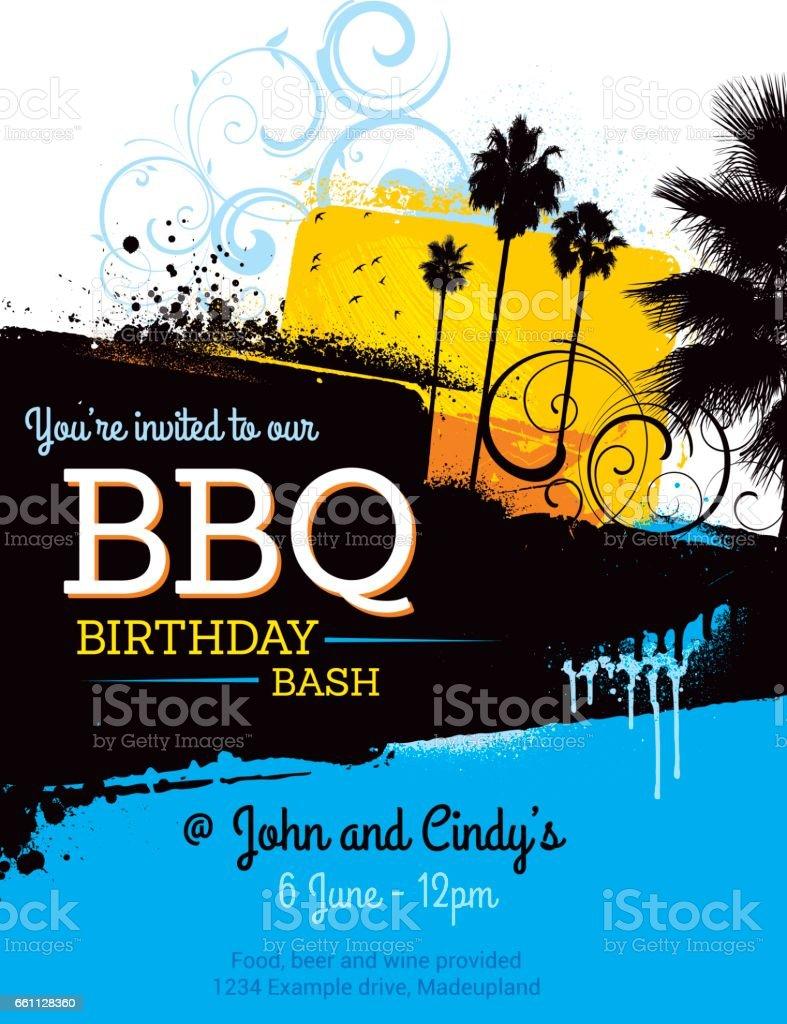 summer bbq party poster invitation vector art illustration