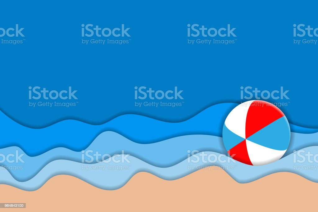 Summer Beach. 3D carving art. Paper layers as seacoast royalty-free summer beach 3d carving art paper layers as seacoast stock vector art & more images of backdrop - artificial scene