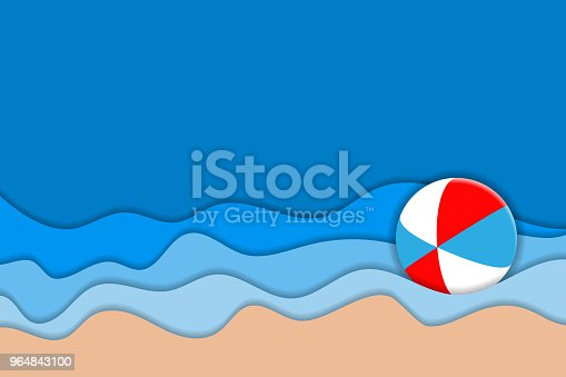 Summer Beach 3d Carving Art Paper Layers As Seacoast Stock Vector Art & More Images of Backdrop - Artificial Scene